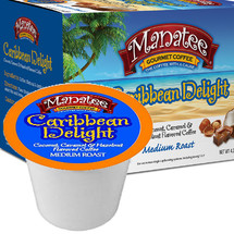 Manatee Gourmet Coffee Caribbean Delight Coffee Single Cup. The essence of the tropics in a cup delivered with a rich low acidic blend of the finest Central and South American coffee beans enhanced with a hint of tropical coconut, hazelnut and caramel. Compatible with most single serve brewers including Keurig and Keurig 2.0