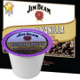 Jim Beam Bourbon Vanilla Coffee Single Cup. A burst of sweet vanilla with a creamy, woody overtone highlights the bourbon-flavored coffee's caramel and smoky tones. This is a non-alcoholic product. Compatible with most single cup brewers including Keurig and Keurig 2.0.