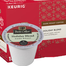Peet's Coffee Holiday Blend Coffee K-Cup® Pod. Bold and complex, with notes of cocoa and baking spices. Compatible with most single cup brewers including Keurig & Keurig 2.0.