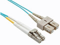 SC-LC 50/125 OM4 Multimode Duplex Fiber Optic Patch Cords Aqua