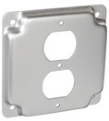 "4"" Square, 1/2"" Raised Duplex Receptacle Surface Cover"