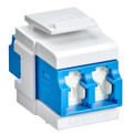 Leviton QuickPort Duplex LC Adapter, Shuttered, SM, Zirconia Ceramic Sleeve, Blue