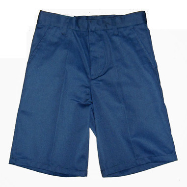 Navy Flat Front Husky Shorts - Front