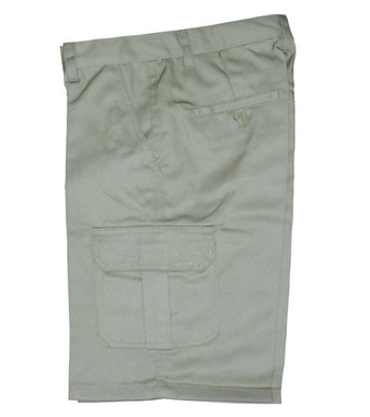 Khaki Cargo Pocket Shorts - Side