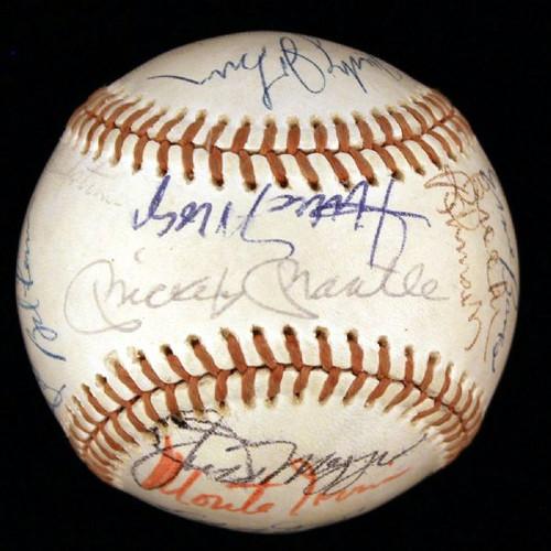 Autographed Baseball, JSA Authentication, Joe DiMaggio, Mickey Mantle, Willie Mays, Don Drysdale, Juan Marichal, Monte Irvin, Eddie Mathews, Harmon Killebrew. A total of 23 Hall-of-Famers.