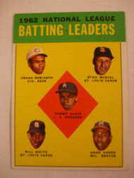 1963 Topps #1 1962 NL Batting Leaders VG Musial, Aaron, Robinson
