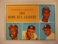 1961 Topps #43 1960 NL Home Run Leaders. Banks, Aaron, Mathews, Boyer EXMT