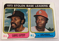 1974 Topps #204 1973 Stolen Base Leaders Tommy Harper & Lou Brock EXMT