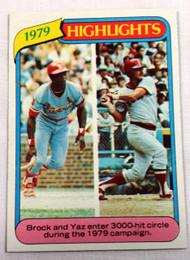 1980 Topps #1 1979 Highlights Lou Brock & Carl Yastremzski NRMT