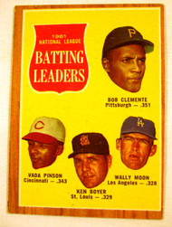 1962 Topps #52 1961 NL Batting Leaders Clemente, Pinson, Boyer, & Moon EX