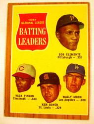 1962 Topps #52 1961 NL Batting Leaders Clemente, Pinson, Boyer, & Moon EX