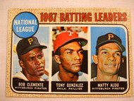 1968 Topps #1 1967 NL Batting Leaders, Clemente, Gonzalez, Matty Alou. EX