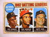 1968 Topps #1 1967 NL Batting Leaders, Clemente, Gonzalez, Matty Alou. VGEX