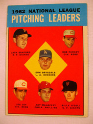 1963 Topps #7 1962 NL Pitching Leaders Drysdale, Sanford, Purkey, Jay, Mahaffey, O'Dell EXMT Dodgers, Giants, Reds, Phillies