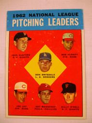 1963 Topps #7 1962 NL Pitching Leaders Drysdale, Sanford, Purkey, Jay, Mahaffey, O'Dell VG