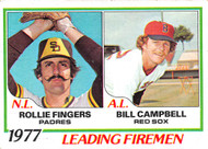 1978 Topps #208 1977 Leading Firemen Fingers and Campbell EX