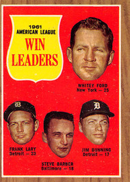 1962 Topps #57 1961 Win Leaders EX Ford, Lary, Barber, Bunning