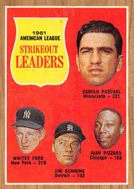 1962 Topps #59 1961 Strikout Leaders VG Ford, Pascual, Pizzaro, Bunning