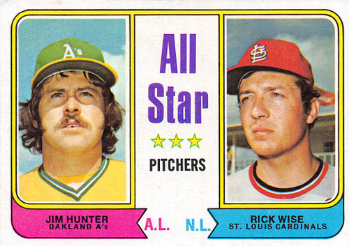 1974 Topps #339 All Star Pitchers EX Hunter & Wise (74T339EX)