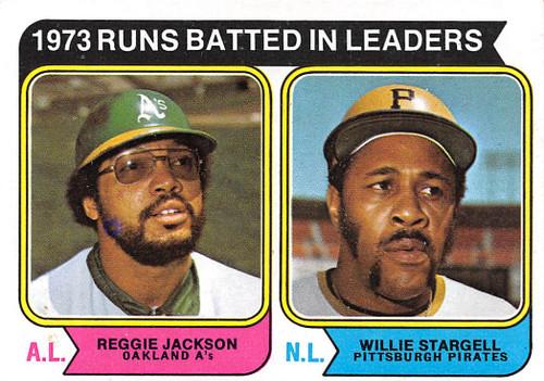 1974 Topps #203 1973 RBI Leaders EX Jackson & Stargell. (74T203EX)