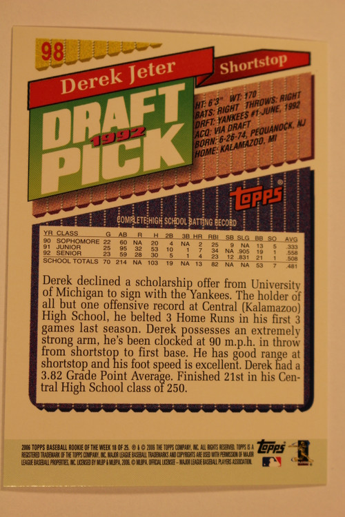 Baseball Cards, Derek Jeter, Jeter, 2006 Topps, 1993 Topps, Yankees, Rookie