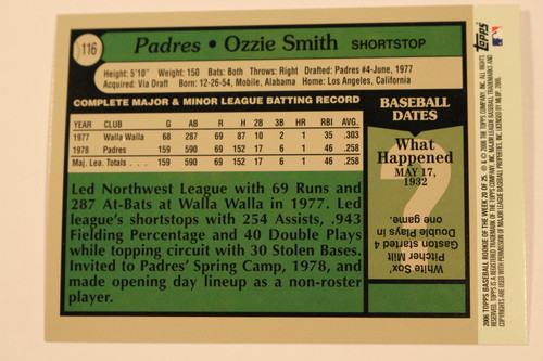 Baseball Cards, Ozzie Smith, Oz, Smith, Wizard of Oz, 2006 Topps, 1979 Topps, Padres, Cardinals, Rookie, Rookie of the Week