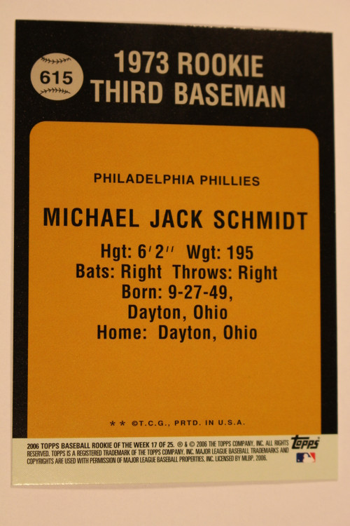 Baseball Cards, Mike Schmidt, Schmidt, 2006 Topps, 1973 Topps, Phillies, Rookie, Rookie of the Week