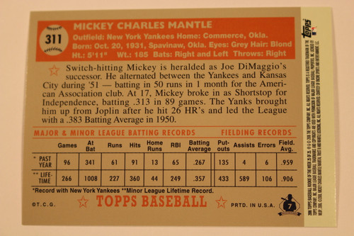 Baseball Cards, Mickey Mantle, Mantle, 2006 Topps, 1952 Topps, Yankees, Rookie, Rookie of the Week