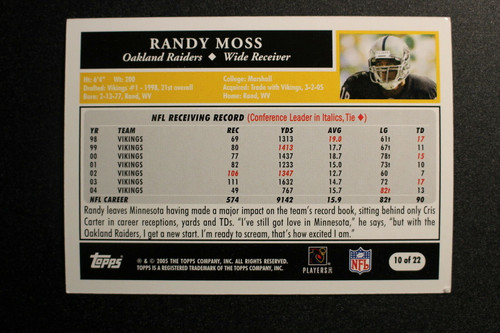 Football Cards, Randy Moss, Moss, 2005 Topps, Raiders, Turn Back the Clock
