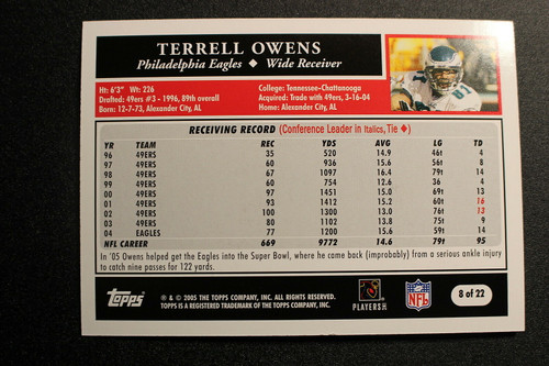 Football Cards, Terrell Owens, Owens, 2005 Topps, Eagles, Turn Back the Clock