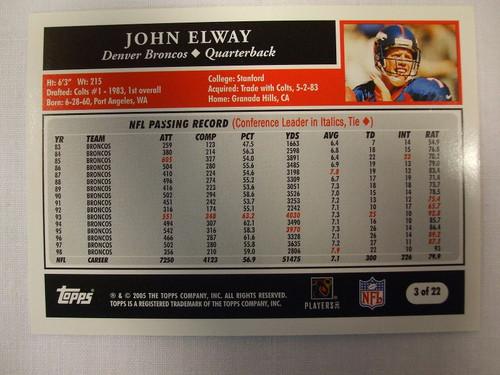 Football Cards, John Elway, Elway, 2005 Topps, Broncos, Turn Back the Clock