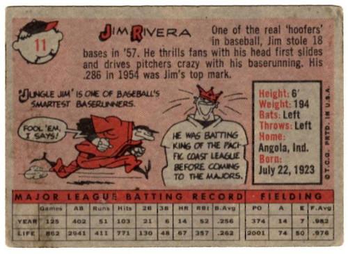 1958 Topps, Baseball Cards, Topps,  Rivera, Jim Rivera, White Sox