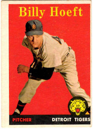 1958 Topps, Baseball Cards, Topps,  Hoeft, Billy Hoeft, Yellow Name, Yellow Letters, Tigers