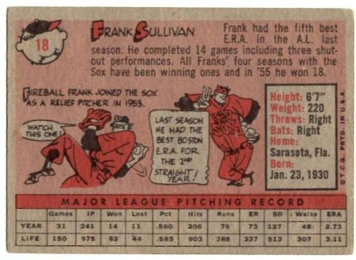 1958 Topps, Baseball Cards, Topps,  Sullivan, Frank Sullivan, Red Sox