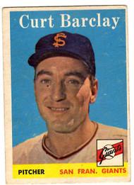 1958 Topps, Baseball Cards, Topps,  Barclay, Curt Barclay, Giants