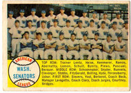 1958 Topps, Baseball Cards, Topps,  Senators Team Checklist
