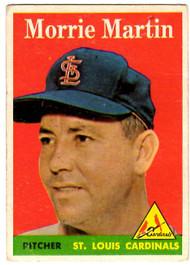 1958 Topps, Baseball Cards, Topps,  Martin, Morrie Martin, Cardinals