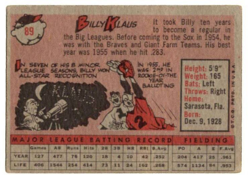 1958 Topps, Baseball Cards, Topps,  Billy Klaus, Red Sox