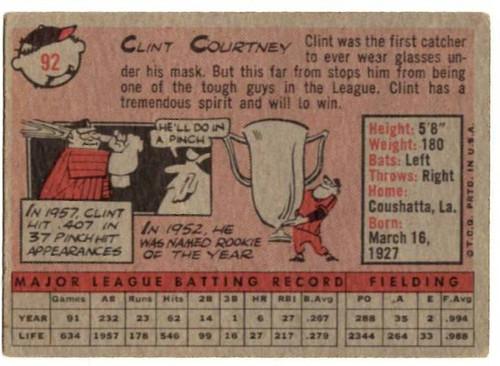 1958 Topps, Baseball Cards, Topps,  Clint Courtney, Senators