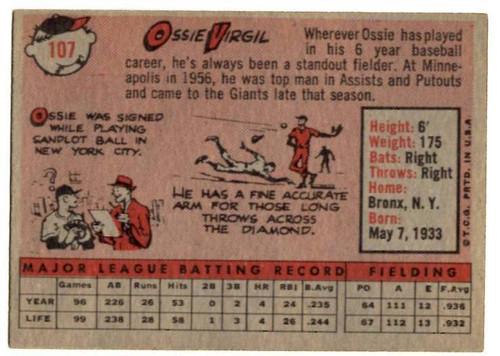 1958 Topps, Baseball Cards, Topps,  Ozzie Virgil, Giants