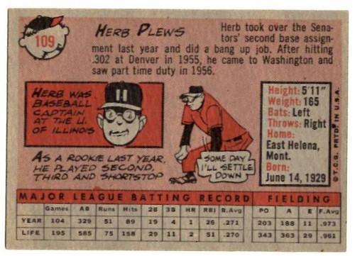 1958 Topps, Baseball Cards, Topps, Herb Plews, Senators