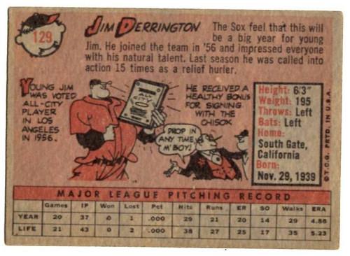 1958 Topps, Baseball Cards, Topps, Jim Derrington, White Sox