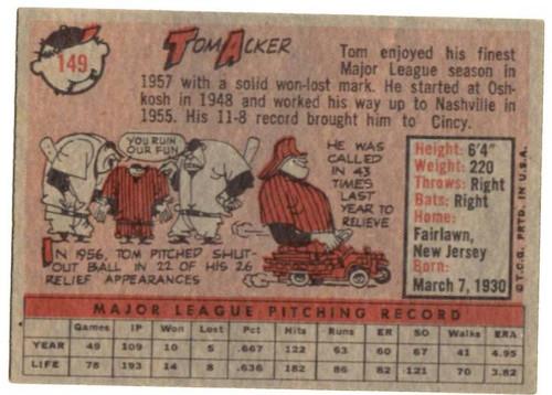 1958 Topps, Baseball Cards, Topps, Tom Acker, Redlegs, Reds
