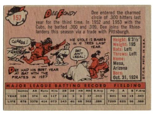 1958 Topps, Baseball Cards, Topps, Dee Fondy, Redlegs, Reds