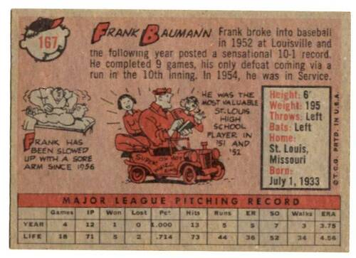 1958 Topps, Baseball Cards, Topps, Frank Baumann, Red Sox