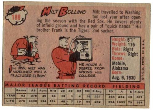 1958 Topps, Baseball Cards, Topps, Milt Bolling, Senators