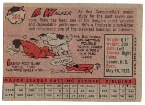 1958 Topps, Baseball Cards, Topps, Al Walker, Dodgers