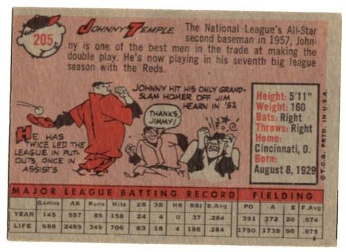 1958 Topps, Baseball Cards, Topps, Johnny Temple, Reds