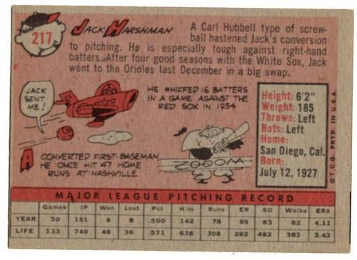 1958 Topps, Baseball Cards, Topps, Jack Harshman, Orioles