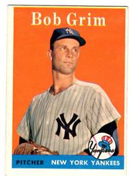 1958 Topps, Baseball Cards, Topps, Bob Grim, Yankees